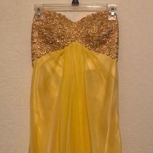 Yellow prom dress rhinestone floor length open bck